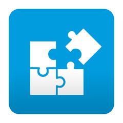 Etiqueta tipo app azul simbolo estrategia
