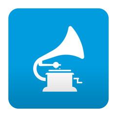 Etiqueta tipo app azul simbolo gramofono
