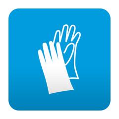 Etiqueta tipo app azul simbolo guantes