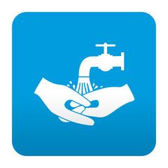 Etiqueta tipo app azul simbolo lavarse las manos