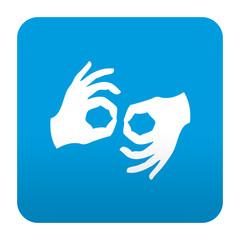 Etiqueta tipo app azul simbolo lenguaje de signos