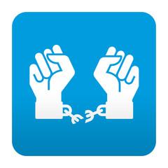 Etiqueta tipo app azul simbolo libertad