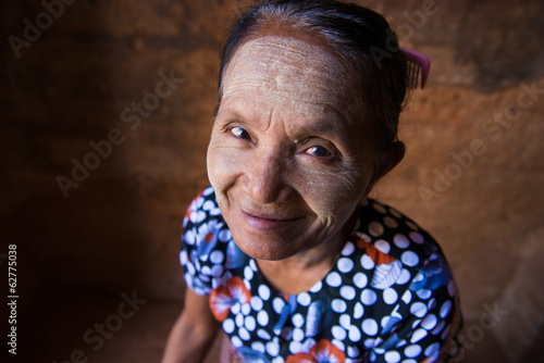 old asian senior woman in traditional clothes and tanaka top dow