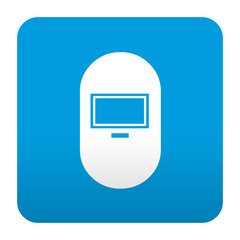 Etiqueta tipo app azul simbolo mascara de soldador