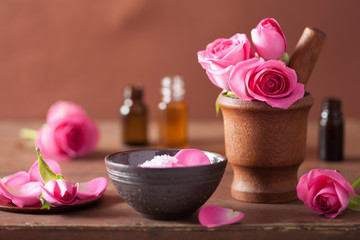 spa set with rose flowers mortar and salt