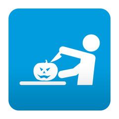 Etiqueta tipo app azul simbolo talla de calabaza
