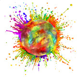 Colored paint splashes in round shape
