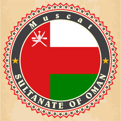 Vintage label cards of  Oman flag.