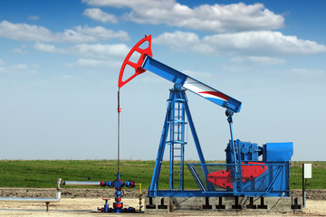 oil industry pump jack on oilfield