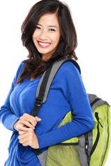 Attractive young happy student with bag