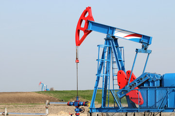 oilfield with pump jack oil industry