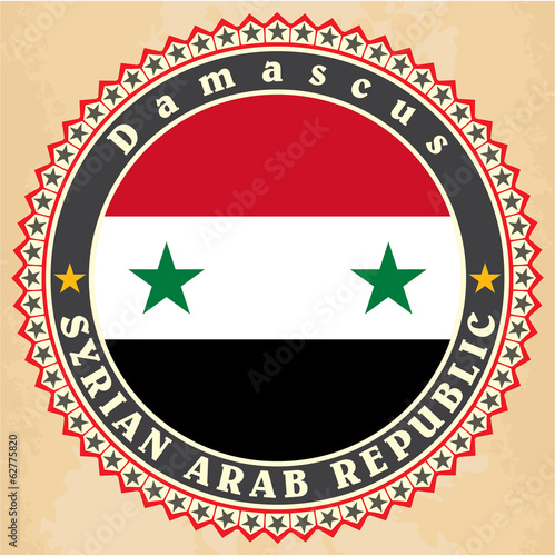 Vintage label cards of  Syria flag.