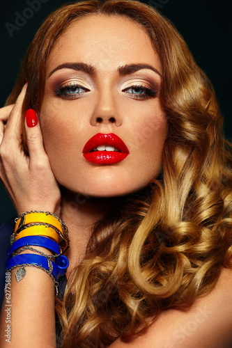 beautiful sexy stylish model with bright makeup