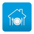 Etiqueta tipo app azul simbolo restaurante