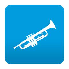 Etiqueta tipo app azul simbolo trompeta