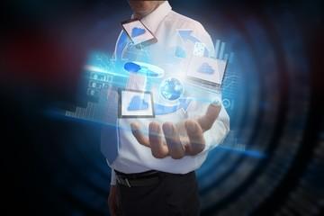 Businessman presenting file transfer interface