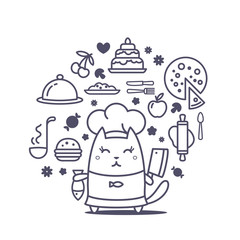 Character chef in a chef's hat line art composition of professio