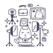 Character photographer with a camera line art composition of pro