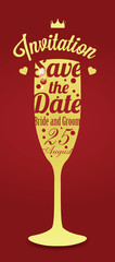 Wedding invitation with champagne glass