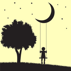 Child on moon swings and tree silhouettes