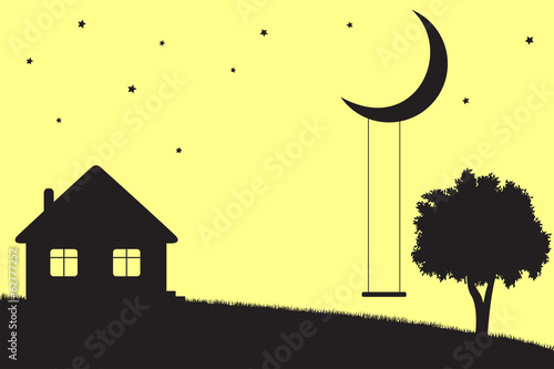 Moon swings, house and tree silhouettes