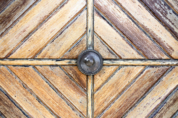 bronze handle on old door