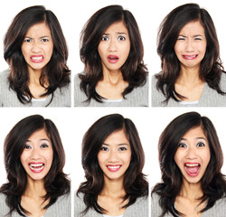 woman with different facial expression