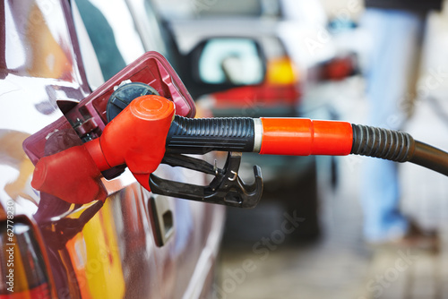 Diesel or gasoline fuel nozzle at station
