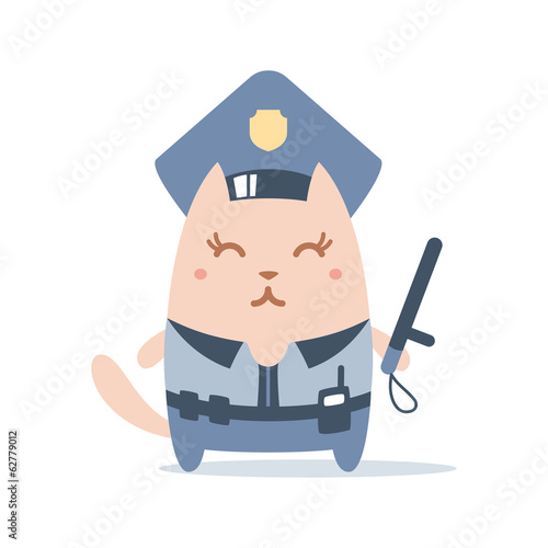 Character police in officer's cap and in the form of police with