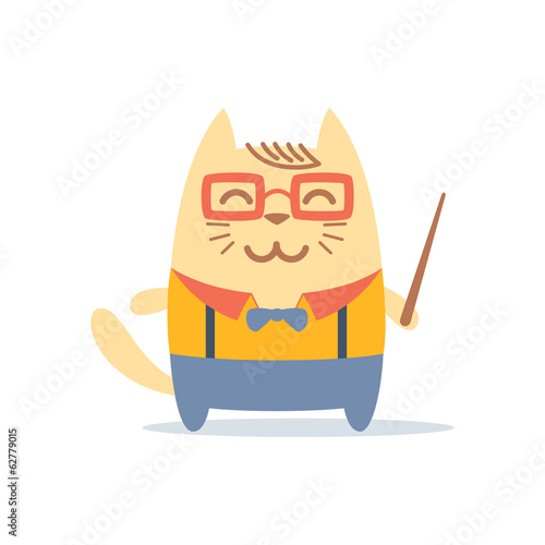 Character teacher in a business suit with suspenders colorful fl