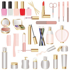 Set of make-up and manicure tools. Isolated