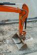 Ruspa escavatore con braccio idraulico, cantiere