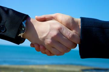 Handshake in front of the sea