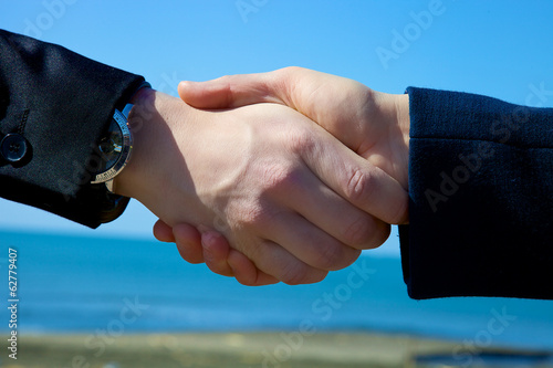 Handshake in front of the sea