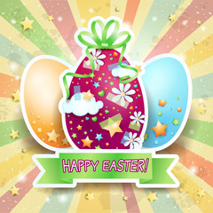 Easter card with Easter eggs and banner