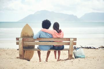 Beach bench couple