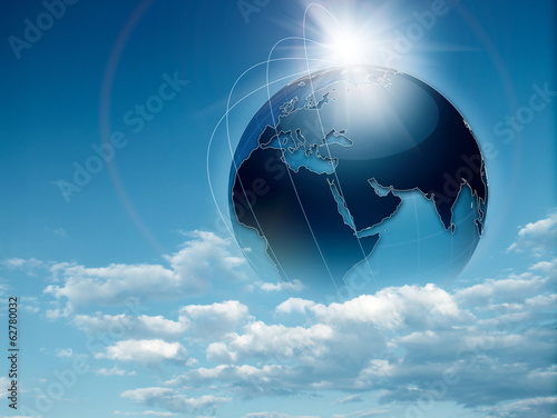 Earth in the skies, abstract travel and environmental background