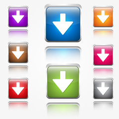 Down Arrow Round Corner Vector Web Icon Button Set