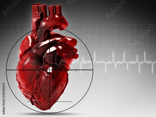 Human heart under attack, abstract medical background
