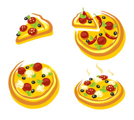Pizza set. Vector