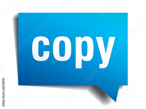 Copy blue 3d realistic paper speech bubble isolated on white