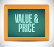value and price message on a chalkboard.