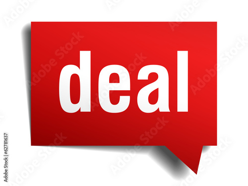 Deal red 3d realistic paper speech bubble isolated on white