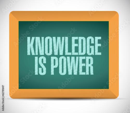 knowledge is power message on a board.