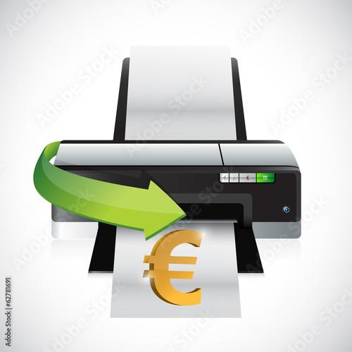 euro printing money concept illustration