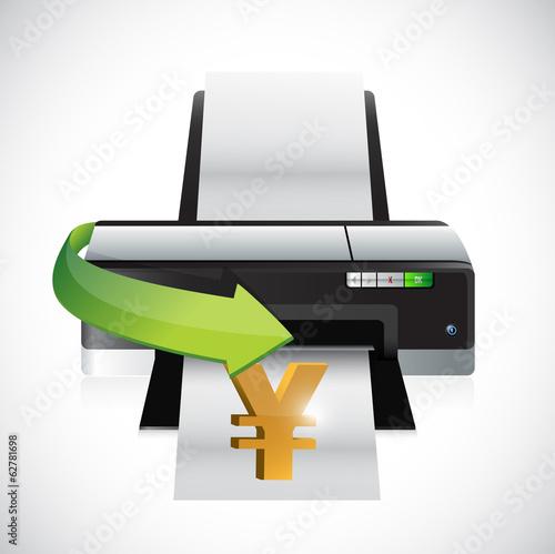 yen printing money concept illustration design