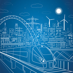 Vector lines train on the overpass, background light city