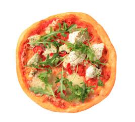 Pizza quattro formaggi with arugula