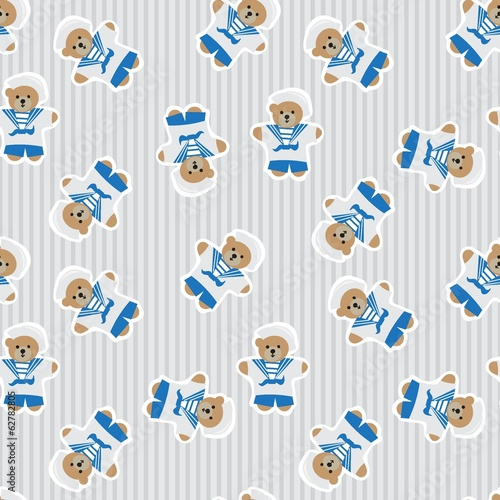 Navy teddy bear  seamless pattern
