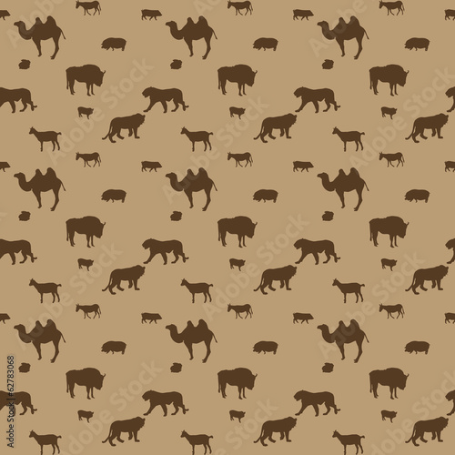 Silhouette of Wild and Domestic Animals. Seamless Pattern. Vecto